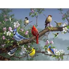 painting flock of birds on branch diy