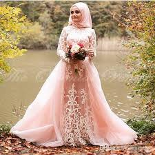 islamic wedding dresses discount blush pink muslim wedding dress with detachable