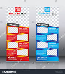 red blue roll banner template design stock vector 549778069