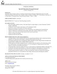 Special Education Paraprofessional Resume Paraprofessional For Sail Program Kellogg Mn