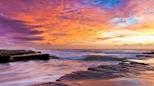 rocky shore wallpapers wonderfully colored sky over rocky shore sky u0026 nature background