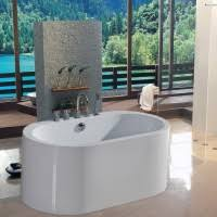 Soaker Bathtubs Rustic Bathroom Interior With Oval White Standing Stone Tub And