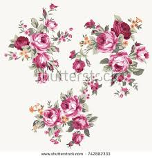 vintage bouquet set vintage bouquet roses floral design stock vector 742882333