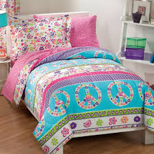 walmart bedding for girls peace and love reversible bed in a bag walmart com