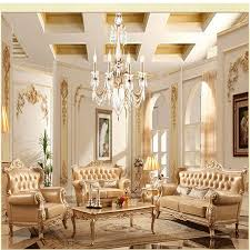 european pastoral sofa leather sofa french champagne new solid