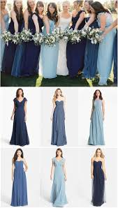 mismatched blue and navy bridesmaid dresses click to see where to