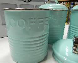 enamel retro kitchen canisters white blue grey tea coffee