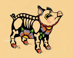 25 best flying pigs images on pinterest flying pig pigs and pig art day of the dead pig piggy dia de los muertos art by illustratedink 10 00