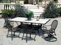 patio ideas patio dining table with ceramic tile umbrella hole