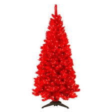 6 pre lit artificial tree translucent ruby clear