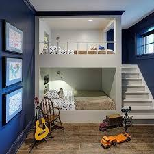 White And Navy Bunk Room With Built In Staircase Bunks - Navy bunk beds