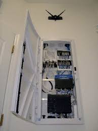 Home Network Closet Design Keep Your Networking Gear Organized With A Wall Mounted Velcro