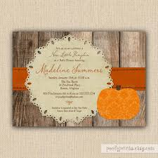 little pumpkin baby shower invitations rustic autumn shower