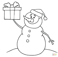snowman coloring pages adults crayola happy holding present