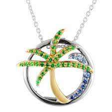 blue sapphire silver necklace images Blue sapphire and tsavorite garnet palm tree wave necklace in jpg