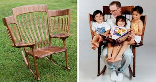 Rocking Chair For 1 Year Old Dad Builds Triple Rocking Chair So He Could Read To His 3 Kids