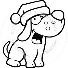 cartoon puppy dog christmas black and white line art by cory