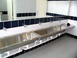 bathroom trough sink with stainless steel sink and large wall