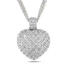 heart drop necklace images Shop miadora sterling silver 1ct tdw diamond heart triple strand jpg