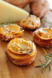 crispy parmesan rosemary sweet potato stacks