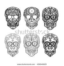 set sugar skulls day stock vector 670520320