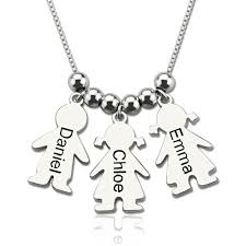 Engravable Sterling Silver Charms Personalized Mother Necklace With Kids Charm Mother U0027s Day Gift