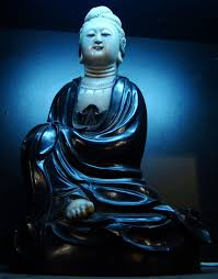 asisbiz antique porcelain blue bodhisattva avalokitesvara siting