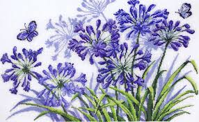 agapanthus cross stitch kit by permin of copenhagen