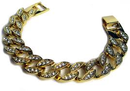 gold plated bracelet chain images Mens fully iced miami cuban link gold plated hiphop bling chain jpg