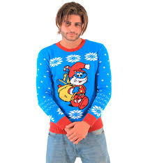 smurfs papa smurf as santa ugly christmas sweater