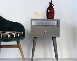 solid oak nightstand table with drawer mid century modern
