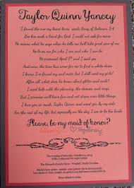 how to ask of honor poem poem to ask bridesmaids and of honor to be in the wedding