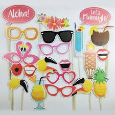 21pcs photo booth props flamingo tropical hawaiian wedding party