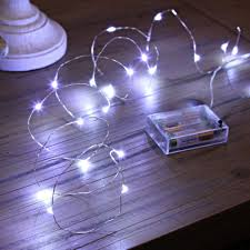 battery fairy lights on silver wire 20 white leds