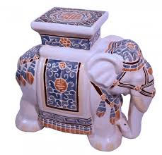 garden stool in chinese hand painted porcelain with elepant 18 u0027 u0027h