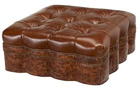 Leather Top Ottoman Antique Croco Ottoman Western Ottomans Embossed Antique Croco