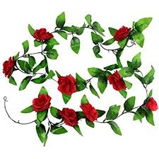 amazon com 8 2ft artificial silk rose flower ivy vine leaf