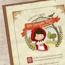 little red riding hood invitation woodland invite fairy tale woods