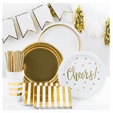 10ct gold white paper snack plates spritz target