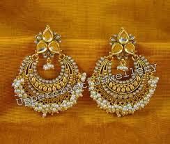 chandbali earrings online buy polki kundan pearl chand bali earrings online