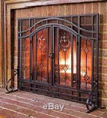 fireplace screen with glass doors fireplace screen cover guard hearth double glass doors black steel