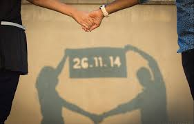 save the marriage date pose idea for pre wedding phot shoot