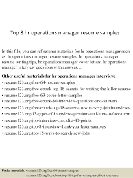 Resume Sample For Hr by Top 8 Hr Operations Manager Resume Samples 1 638 Jpg Cb U003d1431657901