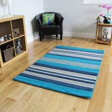 Blue White Striped Rug New Small Large Blue Striped Modern Rugs Easy Clean Soft Pile