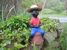 black lawn jockey americana antique cement historical statue