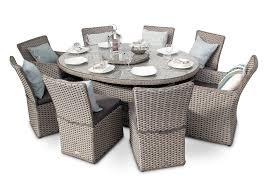 richmond 8 seater rattan oval garden dining table set whitewash grey