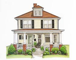 drawing houses house drawing etsy