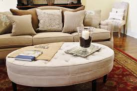 Ottoman Table Decor Tufted Round Coffee Table Ottoman And Tray With Sectional