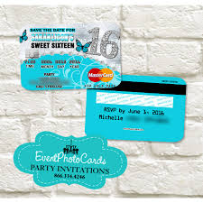 Party Invitations With Rsvp Cards Aqua Butterfly Sweet 16 Invitations Credit Card Sweet Sixteen