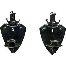 Iron Wall Sconce Two Goberg Viking Ship Hammered Iron Wall Sconce Candlesticks Ca
